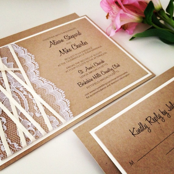 Rustic Wedding Invitation BURLAP And LACE Kraft By