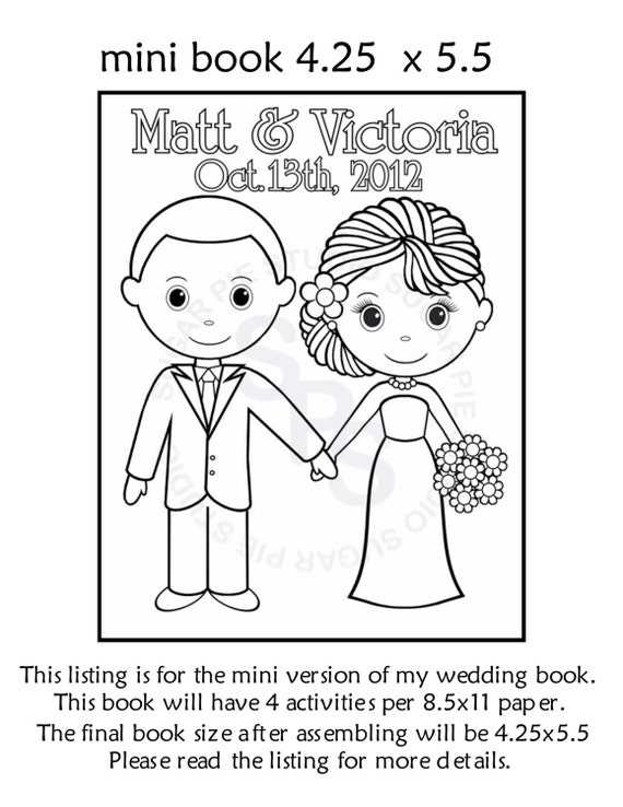 Mini Printable Personalized Wedding Coloring By SugarPieStudio