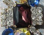 SALE! Czech Glass Brooch - Vintage Brooch - Monaco Blue And Deep Rose - Vintage Rhinestone Brooch