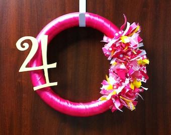 Pink and Yellow Ribbon Wreath - ribbon wreath birthday wreath number wreath birthday decoration party decor housewares home decor