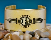 Rustic Cuff Monogram Cuff Bracelet - art deco gold and black design with round monogram - M2-16