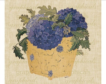 Blue hydrangea instant clip art. Original art Digital download image for iron on fabric transfer to burlap decoupage pillow tote card  1819