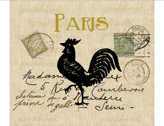 paris carte postale french black rooster instant digital. Black Bedroom Furniture Sets. Home Design Ideas