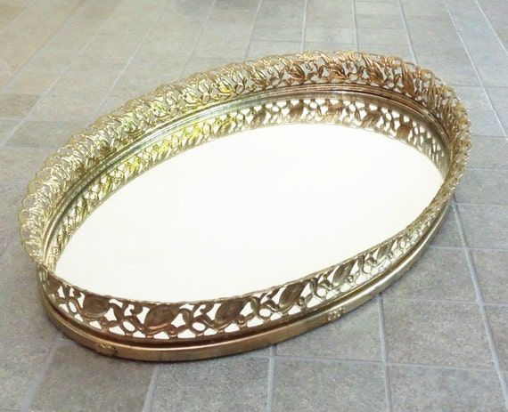 Oval Vintage Brass Mirror Vanity Tray With Filigree Brass