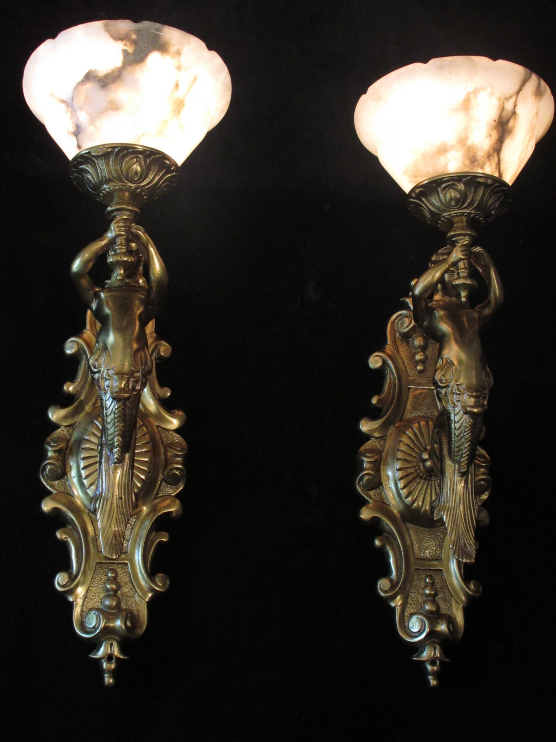 Large Bronze Wall Sconces : Large pair of bronze wall light sconces and white alabaster