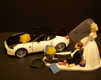 AUTO (No CAR) Wash Bride and Groom Wedding Cake Topper Funny Grooms Cake