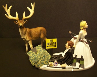 No FISHING Funny Wedding Cake Topper w Boat Bride and Groom