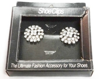 Pair of Rhinestone Shoe Clips - Vintage New in Box