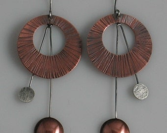 Copper and Sterling Disc and Dome Earrings - Mixed Metal Earrings Dangle
