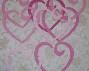 Linking Hearts Heart Shapes Valentines Heart Pinks Scrapbook  Die Cuts Cardstock