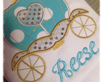 Princess Carriage Appliqué Shirt Cinderella inspired girls Personalized