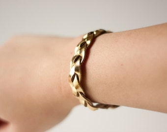Braided Leather Bracelet / Gold / Metallic