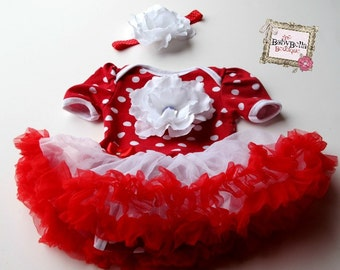 Red with white polka dots  Onesie tutuskirt  and headband set ,Baby Girl romper.