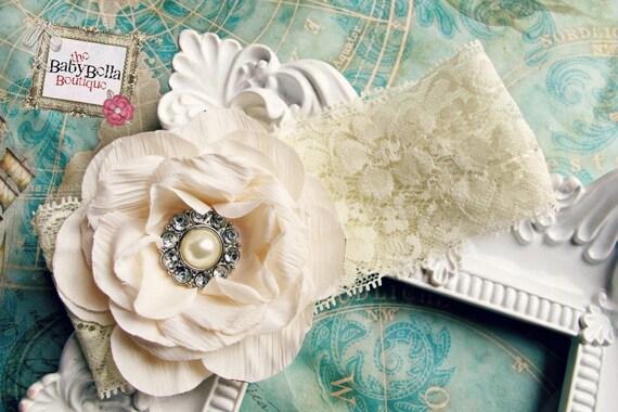Baby Girl cream flower lace headband,Baby Headbands..