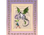 """Jabberwock Monster Alice in Wonderland Through the Looking Glass Illustration on Antique Book Page Art Print 8""""x10"""""""