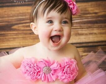 Pink Cake Smash Tutu Cake Smash Outfit First Birthday Tutu Pink Tutu Pink Headband Pink Tutu Top Baby Girl Tutu And Top Pink Baby Tutu Set
