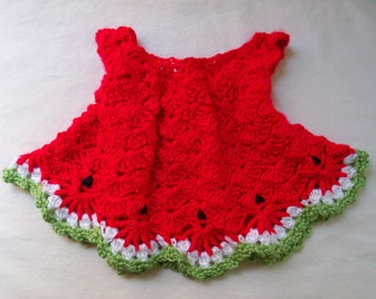 Crochet baby Watermelon style dress size 0 to 3 mos - an adorable baby shower gift, made to order