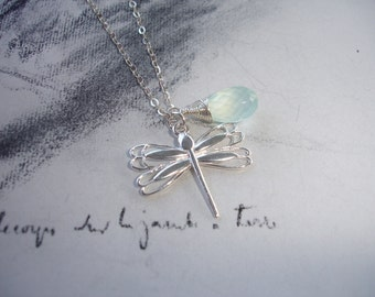 Dragonfly and Aqua Chalcedony Sterling Silver Charm Necklace, Sweet and Dainty, Flower Girl, Bridesmaide Gift