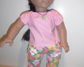 Doll Clothes Floral Denim Skinny Jeans With Pockets And Pink Peasant Top American Handmade
