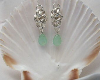 Earrings: Sea Green Chalcedony Briolettes on Double Cloud Cover Argentium Silver Handmade Chainmaille