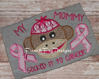 Customized Cancer Awarenss Socked it to Cancer Monkey Applique T-Shirt
