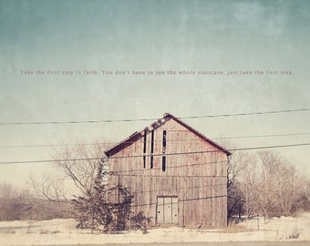 Winter Photography, Red Barn House, Farm House, Abandoned Barn, Winter Art, Winter Photo, Winter Print, Photo Quote, Barn House Art