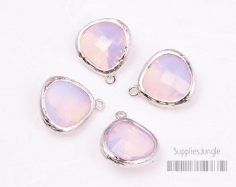 F100-S-PL// Rhodium Framed Frosted Pearl Faceted Glass Stone Pendant, 2 pcs