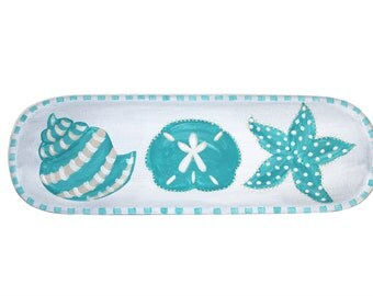 Sand dollar, Starfish and Shell Turquoise Beach Tray