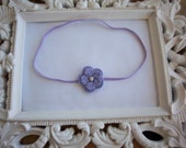 Adorable Lavender Mini Crochet Flower with Rhinestone Center Perfect for Newborns Infants Toddlers Girl Photo Prop-READY TO SHIP