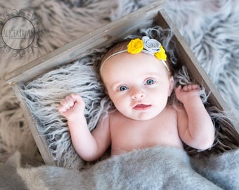 Grey and Yellow Felt Rose Bouquet Headband for Newborn Infant Toddler Girl Easter Spring Photo Prop Baby Girl headbands