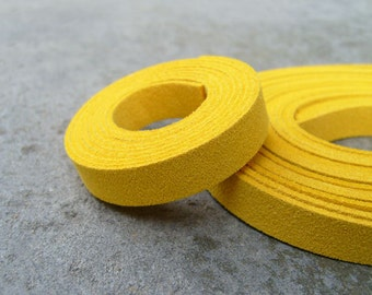 5 Yds(450 cm or 15Ft) Yellow-5 of 900X10mm Faux Suede Lace Straps (FS10-15)