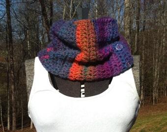 Cowl neck button scarf