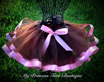 Pink and Brown Tutu Ribbon Tutu Girls Ribbon Tutu