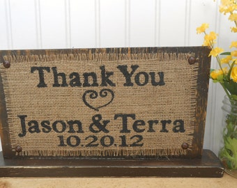 Bride and Groom burlap thank you table sign, gift and card reception decor