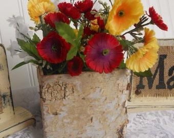 "Birch Pots Bark Covered, 5"" Square Pot with liner, natural birch bark wood vases, square wedding flower pot baskets"
