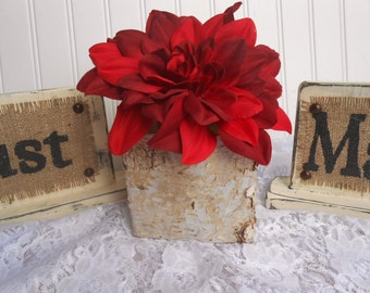 "wedding pots to compliment burlap wedding signs, Birch Bark Covered, 5"" square"