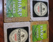 Set of Guinness & Harp Natural Stone Coasters