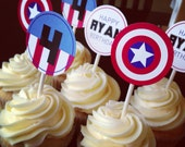 Printable Super Hero Birthday Cupcake Toppers or Tags