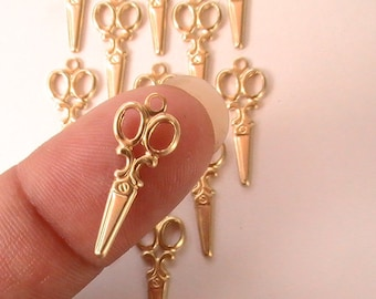 Charm, Supplies, Findings, Unplated Brass, Raw, Jewelry Supplies, Collage, Assemblage, Mixed Media (12pcs)