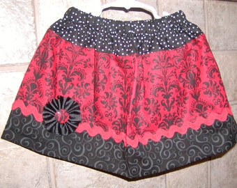 Red and Black Damask..Girls Skirt, Custom skirt. Available in 0-12 months, 1/2, 3/4, 5/6, 7/8, 9/10, 11/12, 13/14, 15/16