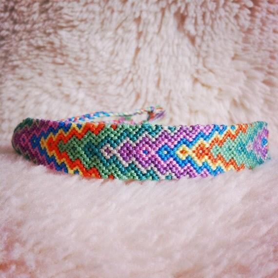 Friendship Bracelet - READY TO SHIP: Braided Handmade Embroidery Floss Fiber Friendship Bracelet - Wide Graduated Arrowhead
