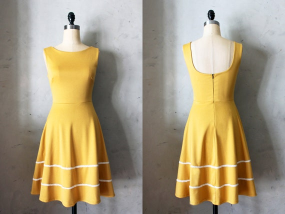 COQUETTE MUSTARD Muted yellow dress with pockets // flared circle skirt // ivory crochet // bridesmaid dress // vintage inspired