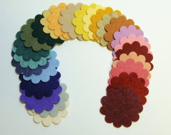 Package of (25)-Wool Felt 2 Inch Scallop Circles- 25 Colors