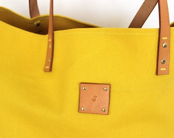 Canvas Tote... SPECIALIZED LABEL... Beach bag sized GOLDENROD tote bag