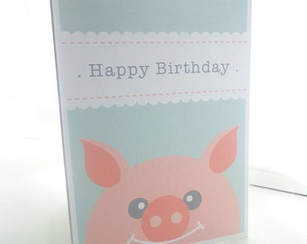 Personalised Pig Children's Birthday Card