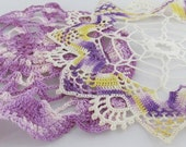 Two Purple Crocheted Doilies in Variegated colors for the Perfect Vintage touch home decor handmade doily