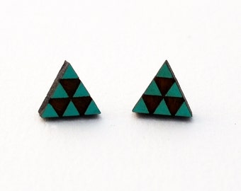 Triangle Stud - Laser cut wood - Turquoise