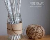 25 Metallic Silver and White Chevron Pattern Paper Straws - Standard 7.75'' / 19.68cm