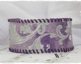 Leather Cuff Bracelet, Silver Swirls Bracelet, Lila Leather Cuff, Pastel Purple Cuff, Gothic Leather Cuff, Victoriana Bracelet Jewelry