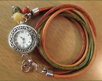 wrist watch leather bracelet women wrap gem